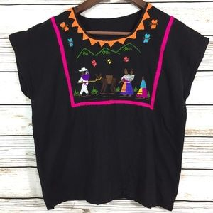 Vintage Mexican boho embroidered blouse top
